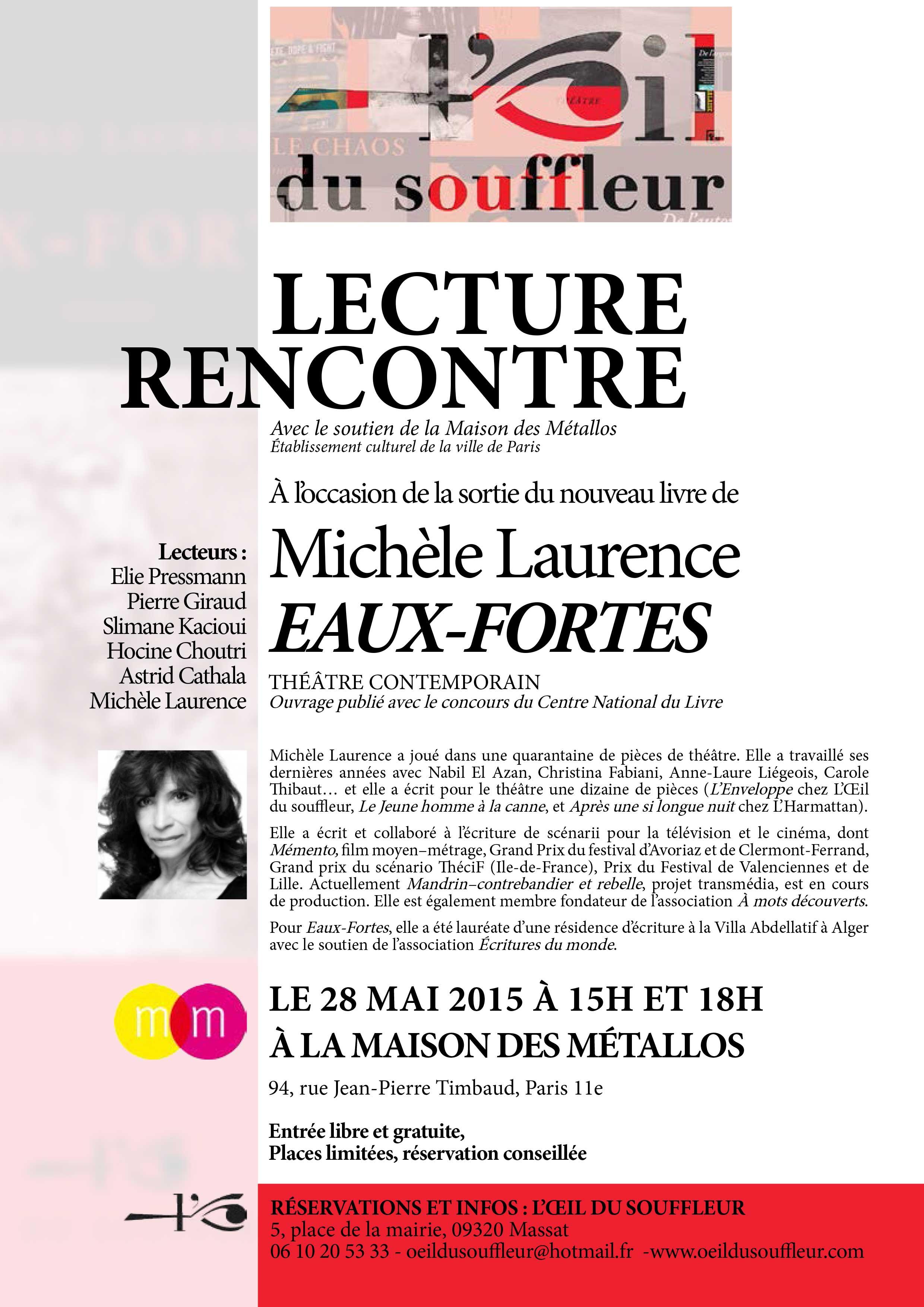 Lecture rencontre Eaux-fortes Michèle Laurence